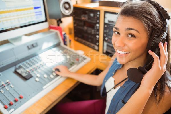 Mosolyog egyetemi hallgató audio stúdió rádió boldog Stock fotó © wavebreak_media