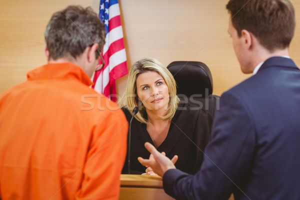 ügyvéd beszél bűnöző narancs bíróság szoba Stock fotó © wavebreak_media