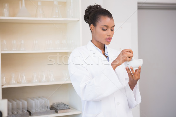 Concentrated scientist using pestle and mortar Stock photo © wavebreak_media