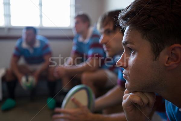 Közelkép figyelmes rögbi csapat másfelé néz ül Stock fotó © wavebreak_media