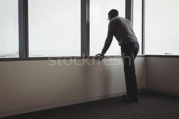 Foto d'archivio: Executive · guardando · finestra · ufficio · business