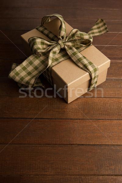 Ajándék doboz fából készült palánk közelkép fa doboz Stock fotó © wavebreak_media