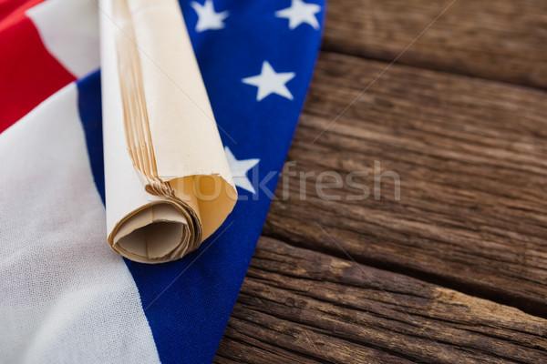 Amerikai zászló alaptörvény irat fa asztal háttér zászló Stock fotó © wavebreak_media