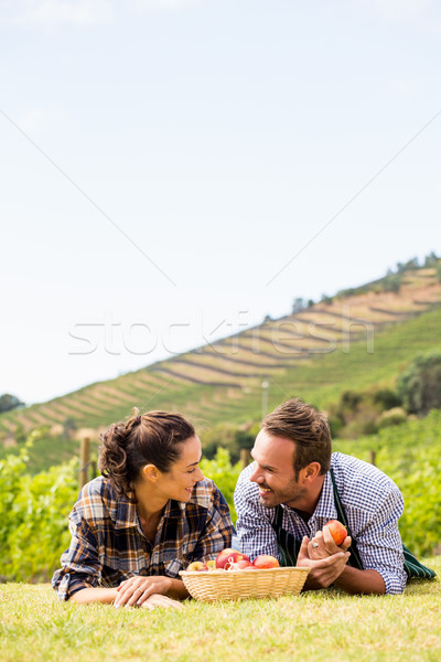 Couple with apple basket relaxing at vineyard Stock photo © wavebreak_media