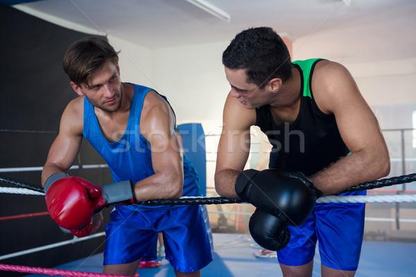 Fiatal férfi boxeralsó dől kötél box Stock fotó © wavebreak_media