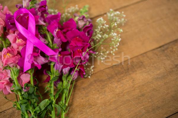 Magasról fotózva kilátás rózsaszín mellrák tudatosság szalag Stock fotó © wavebreak_media