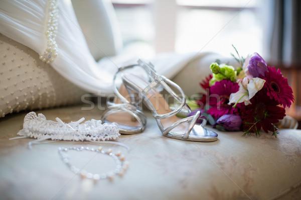 Bruiloft sofa home huwelijk jurk Stockfoto © wavebreak_media