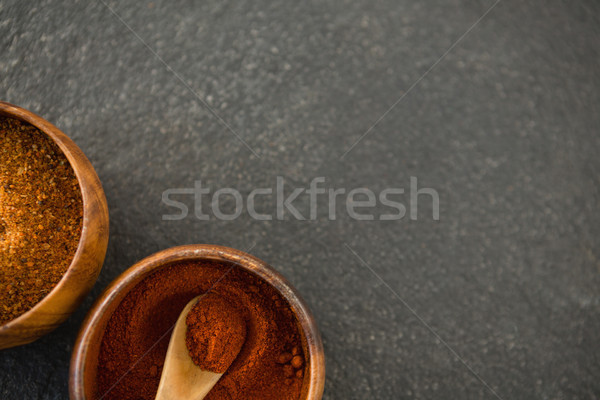 Overhead view of grounded food in wooden bowls Stock photo © wavebreak_media
