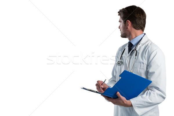 мужской доктор Дать буфер обмена белый медицинской работу Сток-фото © wavebreak_media