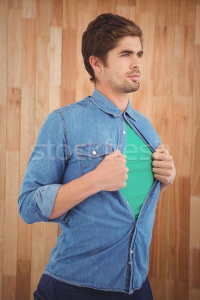 открытие рубашку superhero стиль Постоянный Сток-фото © wavebreak_media
