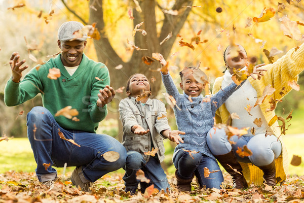 Young smiling family throwing leaves around Stock photo © wavebreak_media