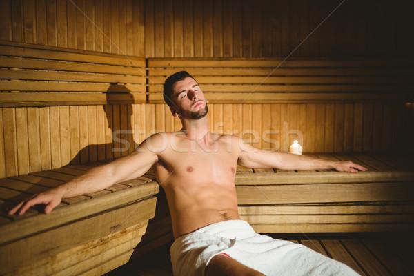 Adam oturma içinde sauna spa otel Stok fotoğraf © wavebreak_media