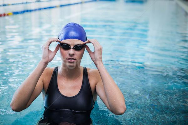 フィット 女性 着用 泳ぐ キャップ ゴーグル ストックフォト © wavebreak_media