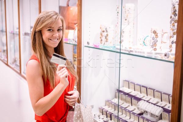 Portre güzel bir kadın kredi kartı kuyumcu alışveriş Stok fotoğraf © wavebreak_media