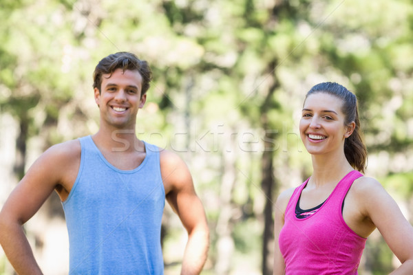 Stock photo: Portrait of joggers in forest
