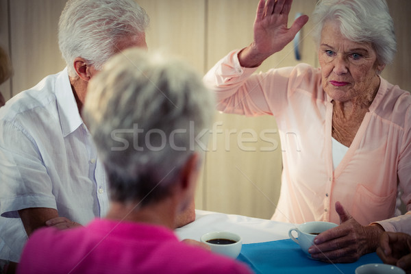 Nyugdíj ház nő kávé egészség tea Stock fotó © wavebreak_media