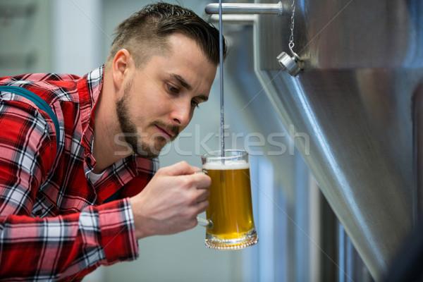 Test bira özenli bira fabrikası içmek Stok fotoğraf © wavebreak_media