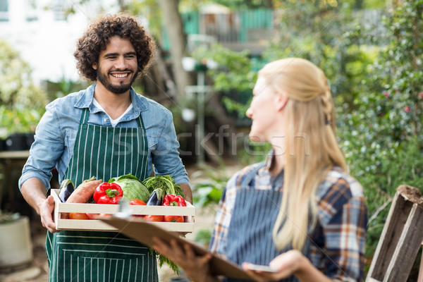 Male gardener looking at woman while holding vegetable crate Stock photo © wavebreak_media