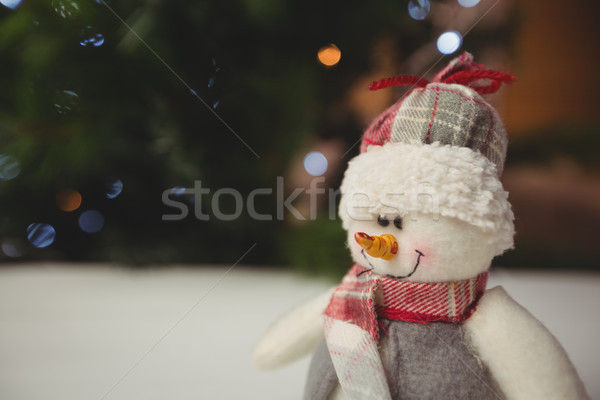 Kardan adam ahşap masa Noel zaman ev Stok fotoğraf © wavebreak_media