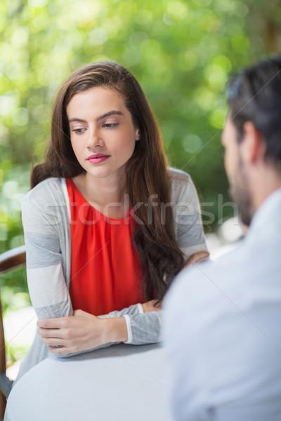 Deprimido Pareja sesión restaurante mujer hotel Foto stock © wavebreak_media