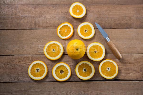 апельсинов треугольник форма древесины фрукты оранжевый Сток-фото © wavebreak_media