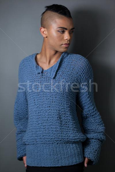 Transgender vrouw grijs telefoon stoel weefsel Stockfoto © wavebreak_media