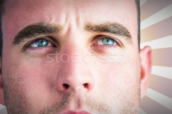 Composite image of tough rugby player looking away Stock photo © wavebreak_media