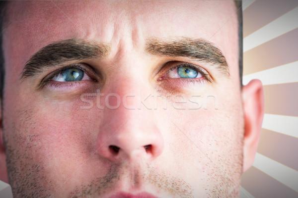 összetett kép szívós rögbi játékos másfelé néz Stock fotó © wavebreak_media
