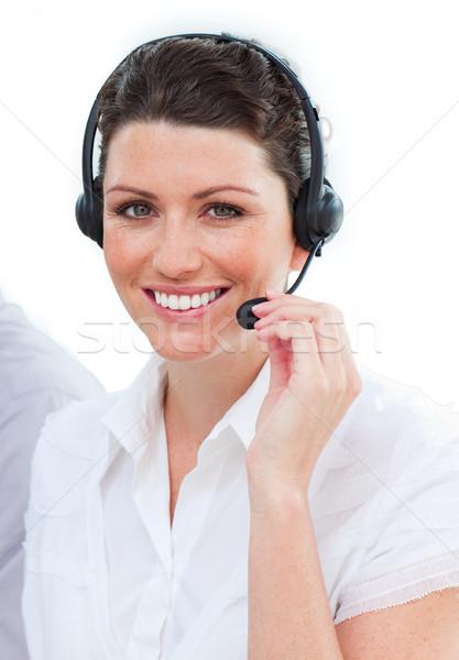 Mooie vrouwelijke klantenservice computer telefoon man Stockfoto © wavebreak_media