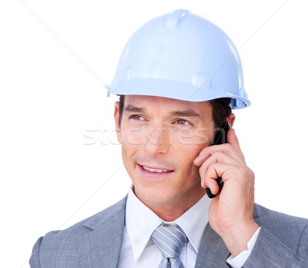 Mannelijke architect praten telefoon witte business Stockfoto © wavebreak_media