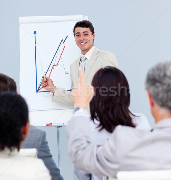 érett üzletember kérdez kérdés konferencia kollégák Stock fotó © wavebreak_media