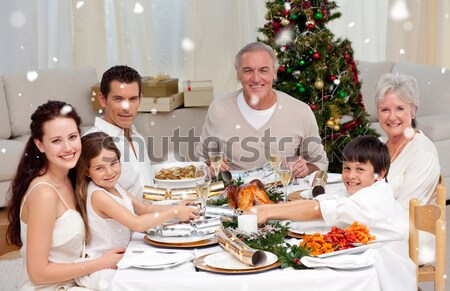 Children pulling a Christmas cracker at home Stock photo © wavebreak_media