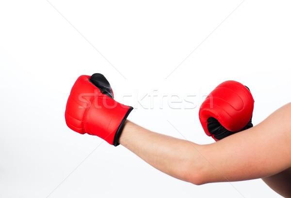 Hombre boxeo lucha aislado blanco cuadro Foto stock © wavebreak_media