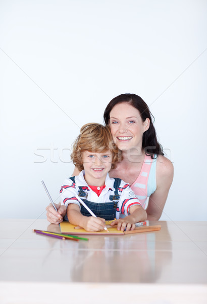 Radiant mother drawing with her son Stock photo © wavebreak_media