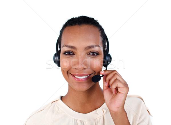 Smiling customer service representative with headset on Stock photo © wavebreak_media
