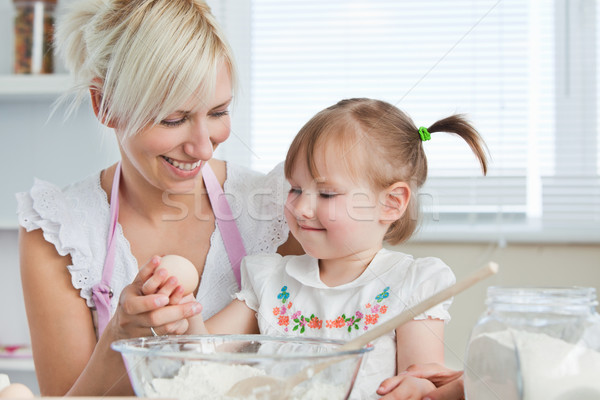Smiling mother and child baking cookies in kitchen Stock photo © wavebreak_media