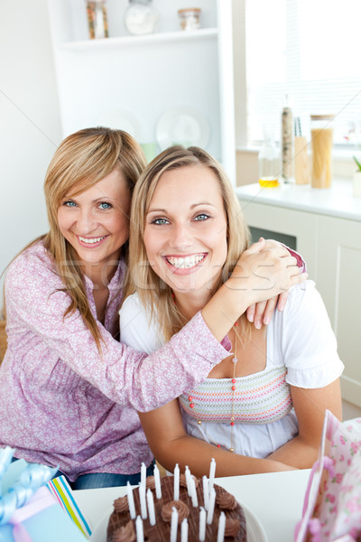 портрет два друзей празднование дня рождения домой Сток-фото © wavebreak_media