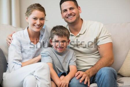 семьи смотрят телевизор еды попкорн продовольствие Сток-фото © wavebreak_media