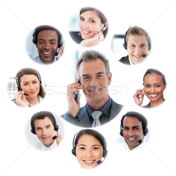 Illustration arbeiten weiß Lächeln Geschäftsmann Kommunikation Stock foto © wavebreak_media