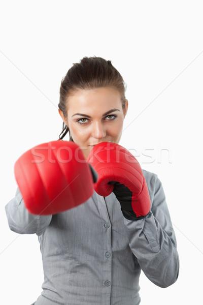 Geschäftsfrau Boxhandschuhe weiß Business Hand glücklich Stock foto © wavebreak_media