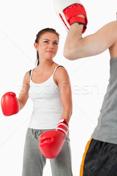 Jungen weiblichen Kampfkünste Ausbildung weiß Sport Stock foto © wavebreak_media