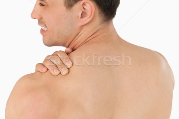 若い男 首の痛み 白 手 スポーツ 美 ストックフォト © wavebreak_media