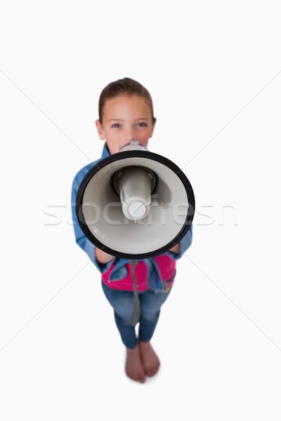 Ritratto ragazza megafono bianco sfondo Foto d'archivio © wavebreak_media
