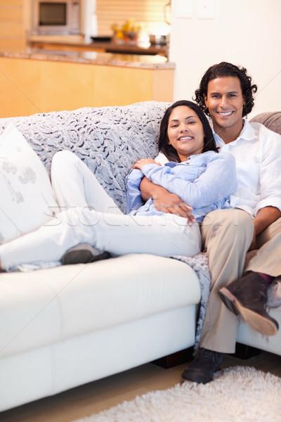 Gelukkig ontspannen bank samen televisie Stockfoto © wavebreak_media