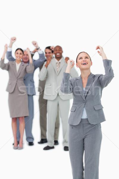 деловая женщина команда за белый улыбка Сток-фото © wavebreak_media