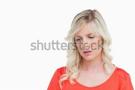 üzücü kadın ayakta aşağı bakıyor beyaz güzellik Stok fotoğraf © wavebreak_media