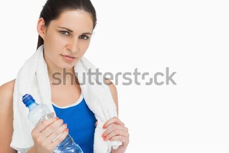 ブルネット スポーツウェア タオル ボトル 白 スポーツ ストックフォト © wavebreak_media