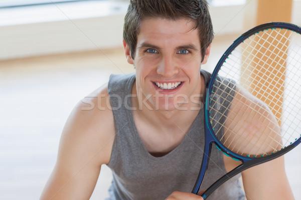 幸せ 男 テニスラケット ジム スポーツ ストックフォト © wavebreak_media