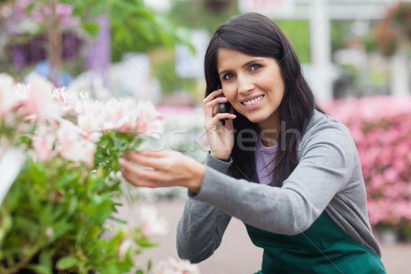 çiçekçi dokunmak çiçek çağrı bahçe merkez Stok fotoğraf © wavebreak_media