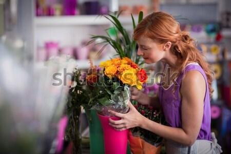Stockfoto: Vrouw · paars · bloemen · permanente · tuin · centrum
